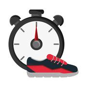 Chronometer and sneakers  icon Stock Illustration