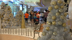 Christmas trees and decoration in a shopping mall in Shenzhen, China Stock Footage