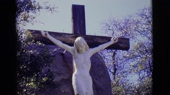 1965: statue of crucifixion GERMANY Stock Footage