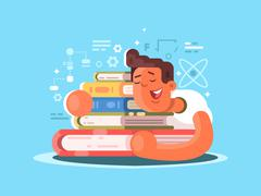 Cartoon man sleep on book Stock Illustration