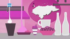 Honduras - Vector Menu - Restaurant - Food and Drinks - pink Stock Footage