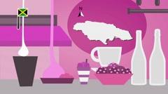Jamaica - Vector Menu - Restaurant - Food and Drinks - pink Stock Footage
