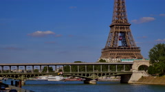 Paris metro crossing Pont de Bir-Hakeim, Paris, France Stock Footage