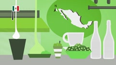 Mexico - Vector Menu - Restaurant - Food and Drinks - green Stock Footage