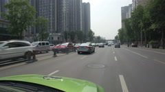 Driving a taxi through the streets of Chengdu in China Stock Footage