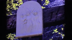 1965: religious stone and writing underneath titled jesus meets his mother Stock Footage