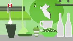 Peru - Vector Menu - Restaurant - Food and Drinks - green Stock Footage