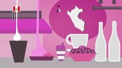 Peru - Vector Menu - Restaurant - Food and Drinks - pink Stock Footage