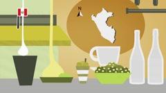 Peru - Vector Menu - Restaurant - Food and Drinks - yellow Stock Footage