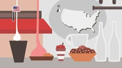 USA - Vector Menu - Restaurant - Food and Drinks - red Stock Footage