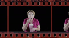 Mature woman showing intense emotion in film strip Stock Footage