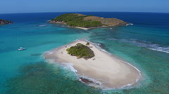 Aerial view of Sandy Spit, British Virgin Islands  Stock Footage