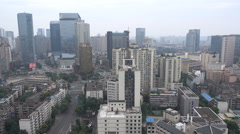 Business district, commercial center, residential buildings in Chengdu Stock Footage