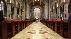 Galway Cathedral Inside View Down Alleyway of Church in Ireland Stock Footage
