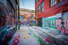 Graffiti Alley, in the Station North District, of Baltimore, Maryland. Stock Photos