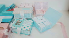 Gift boxes for children. Family heirlooms. Young mothers Stock Footage