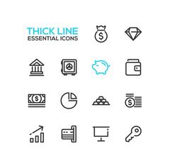 Business, Finance, Symbols - thick line design icons set Stock Illustration