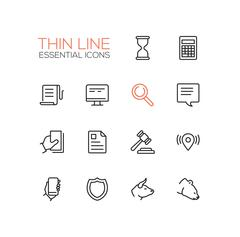 Business, Finance, Law Symbols - thick line design icons set Stock Illustration