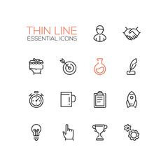 Business, Finance Symbols - thick line design icons set Stock Illustration