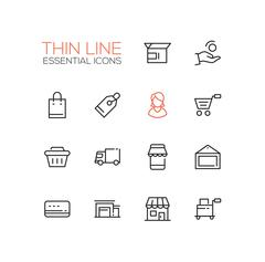 Shopping and Delivery Symbols - thick line design icons set Stock Illustration