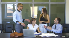 Happy business people won the deal Stock Footage