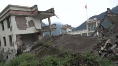 Earthquake ruins of school building in China, part of a memorial site Stock Footage