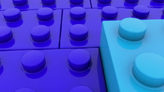 Toy bricks in blue colors Stock Footage