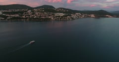 Aerial shot of Neum in Bosnia-Herzegovina, with a boat floating on the sea Stock Footage