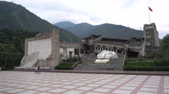 Heavily damaged school at monument for Wenchuan earthquake in China Stock Footage