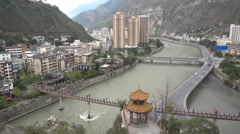 Partly rebuilt town of Wenchuan in China Stock Footage