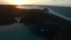Aerial time-lapse of the sunset over Dean's Blue Hole Stock Footage