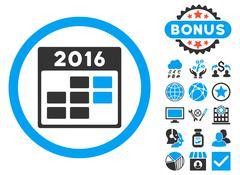 2016 Month Calendar Flat Vector Icon with Bonus Stock Illustration