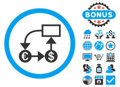 Currency Flow Chart Flat Vector Icon with Bonus Stock Illustration