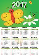 Illustration fo 2017 butterfly calendar for children in italian Stock Illustration
