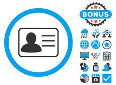 Account Card Flat Vector Icon with Bonus Stock Illustration