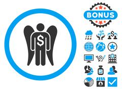 Angel Investor Flat Vector Icon with Bonus Stock Illustration
