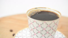 Coffee, coffee cup and grains. Stock Footage