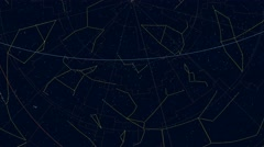 Northern Hemisphere constellations (AEQD projection). Scaled star shapes Stock Footage