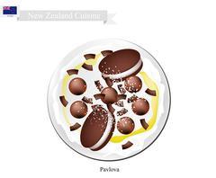 Chocolate Pavlova Meringue Cake, New Zealand Dessert Stock Illustration