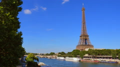Cruise Ship On Seine River By Buildings In City Against Clear Sky Stock Footage