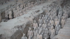 Sculptures of Terracotta Warriors, historic archaeological landmark Xian China Stock Footage