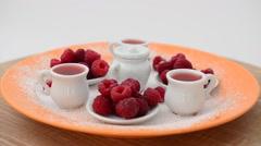 Raspberry and jam, still life. Stock Footage