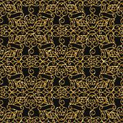 Seamless damask pattern with golden glitter Stock Illustration