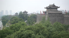View of the restored city walls around the old center of Xian, China Stock Footage