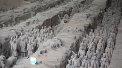 Rows of Terracotta Army statues in Xian, China Stock Footage