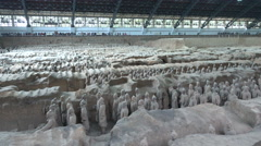Collection of Terracotta Army statues in Xian, history China Stock Footage