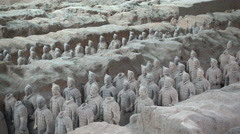 Terracotta Warriors sculptures, first Emperor of China's army, burial ground Stock Footage