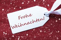 Label On Red Background, Snowflakes, Frohe Weihnachten Means Merry Christmas Kuvituskuvat