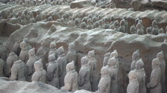Side view of famous Terracotta Army statues in Xian, China Stock Footage