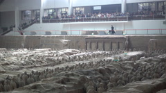 Groups of tourists visit the famous Terracotta Army Warriors in Xian, China Stock Footage